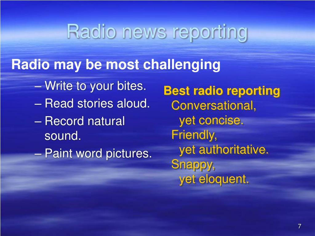 Radio news reporting