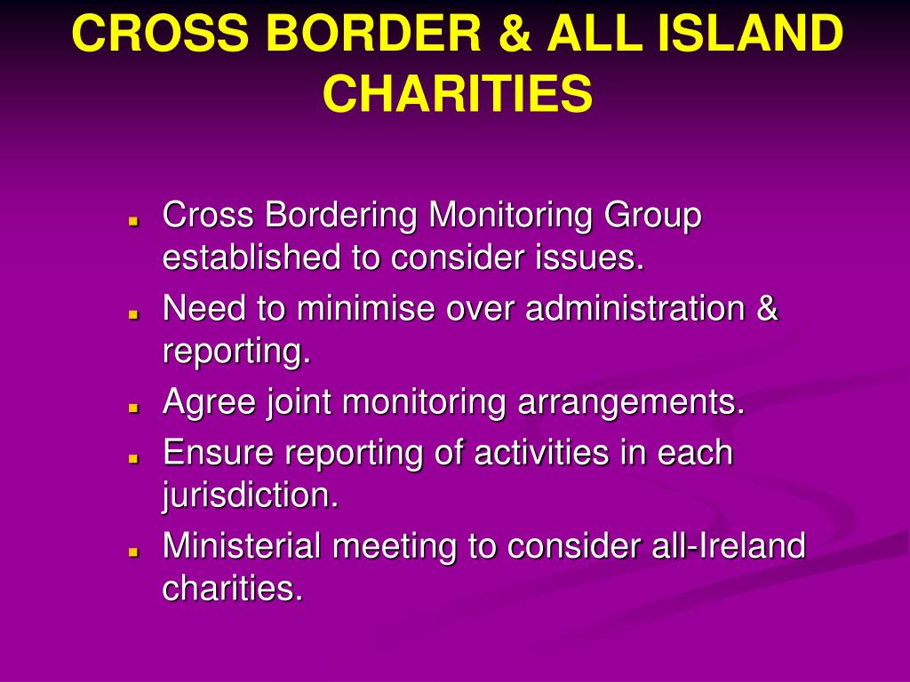 CROSS BORDER & ALL ISLAND CHARITIES
