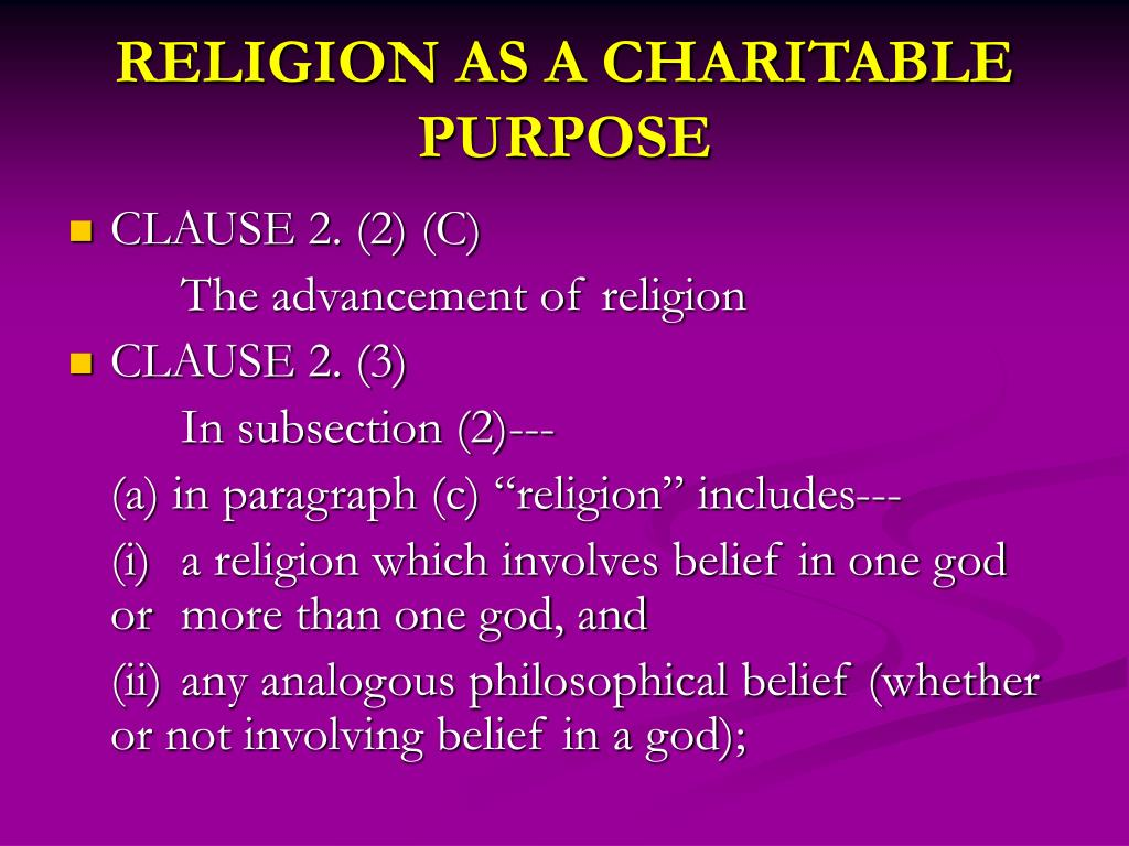 RELIGION AS A CHARITABLE PURPOSE