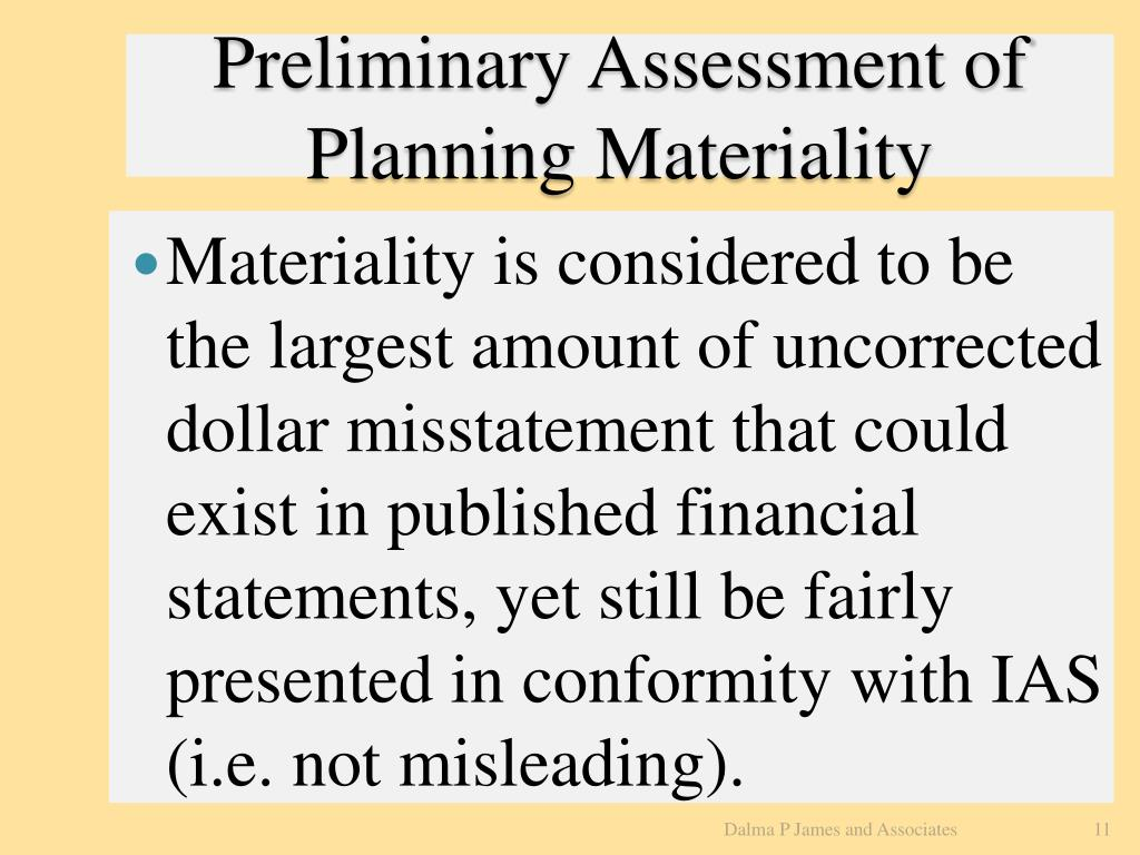 Preliminary Assessment of Planning Materiality