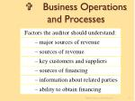 v business operations and processes