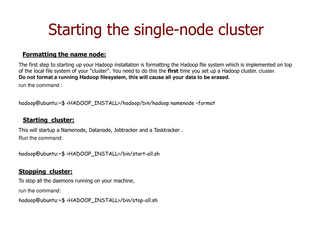 Starting the single-node cluster
