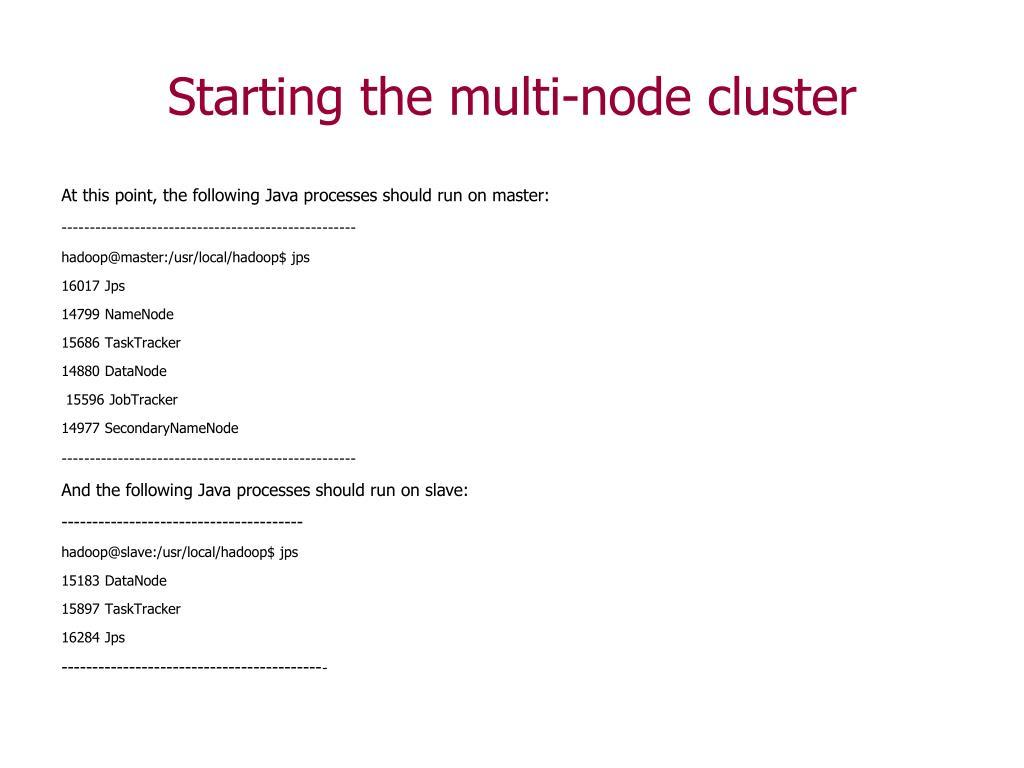 Starting the multi-node cluster