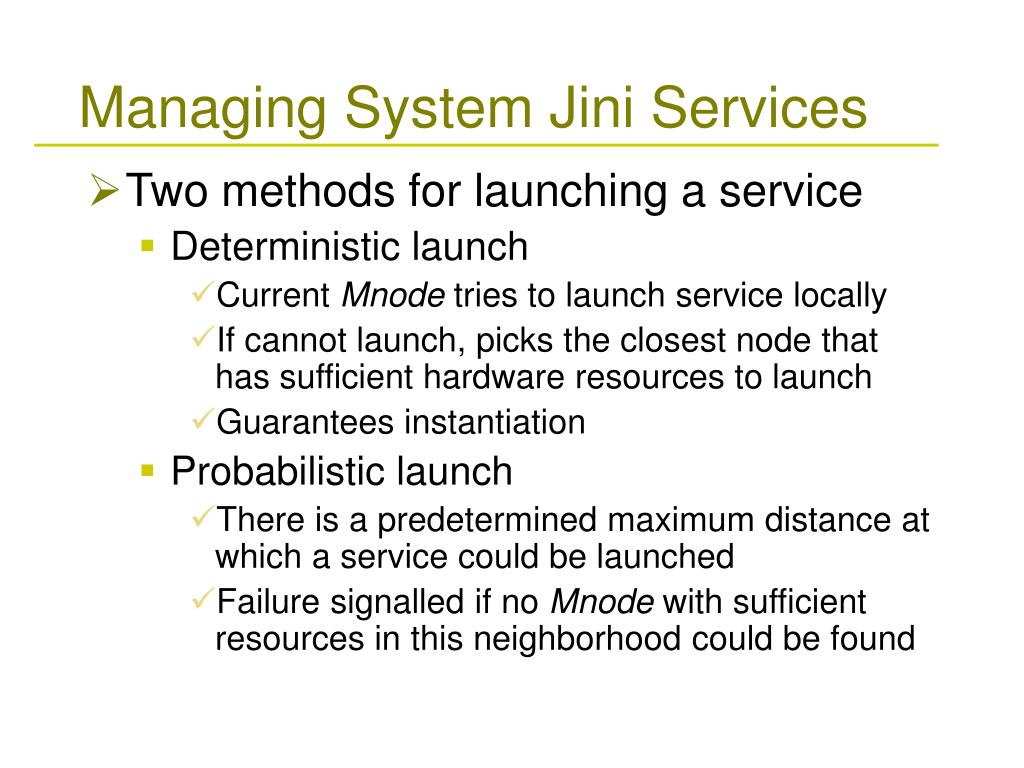 Managing System Jini Services
