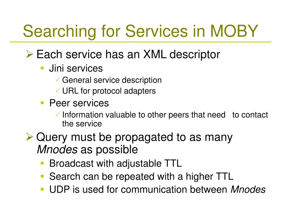 Searching for Services in MOBY