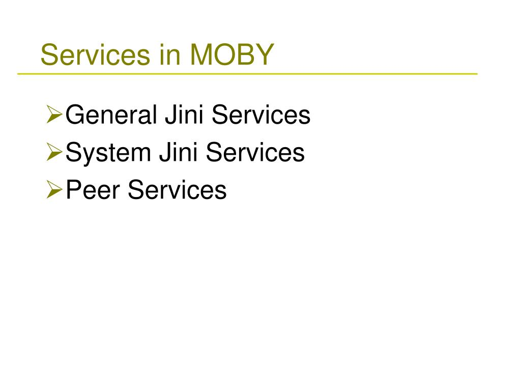 Services in MOBY