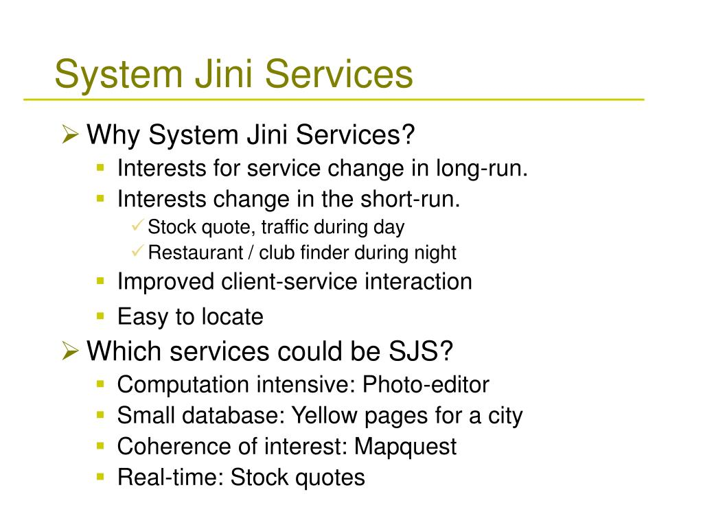 System Jini Services