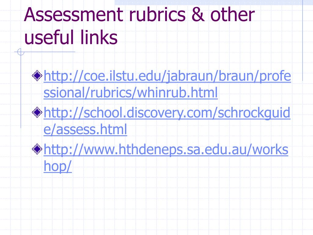 Assessment rubrics & other useful links