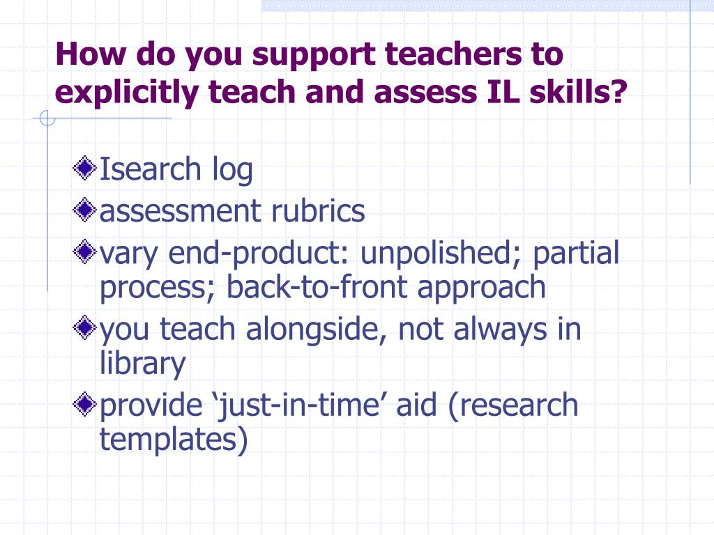 How do you support teachers to explicitly teach and assess IL skills?
