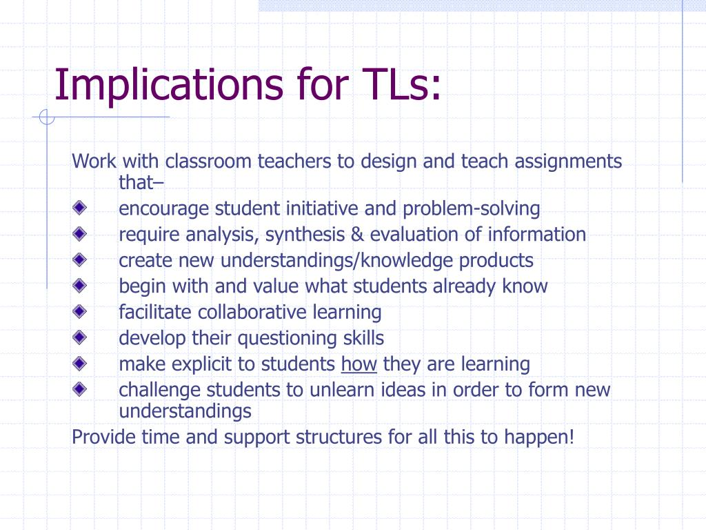 Implications for TLs: