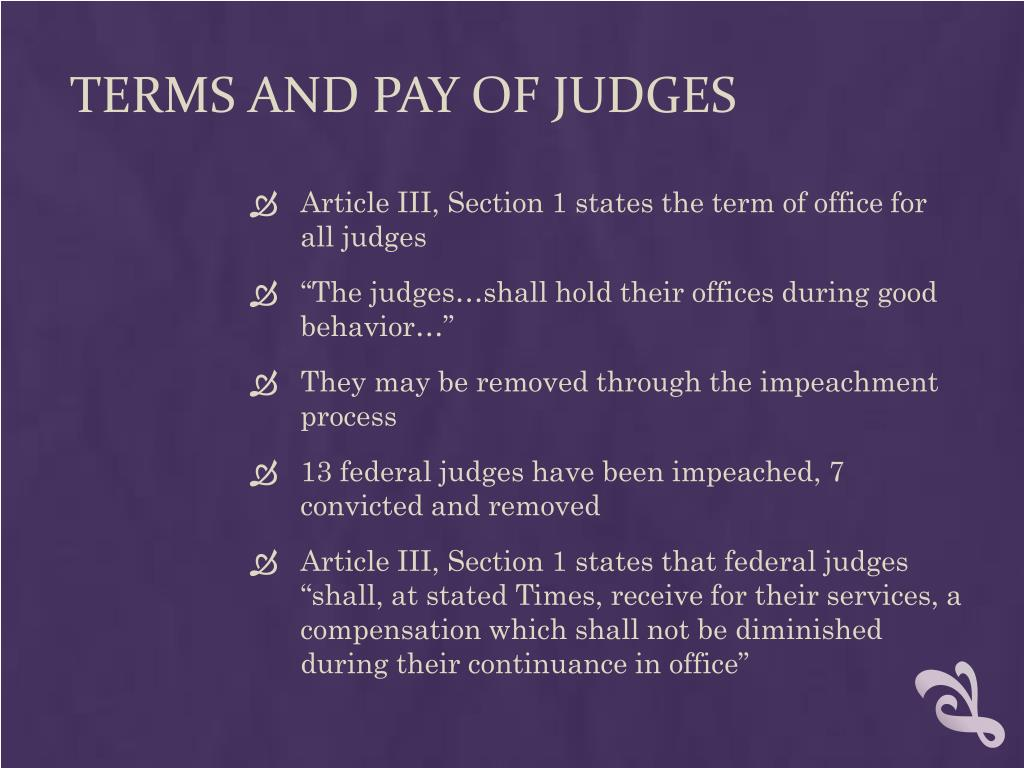 TERMS AND PAY OF JUDGES