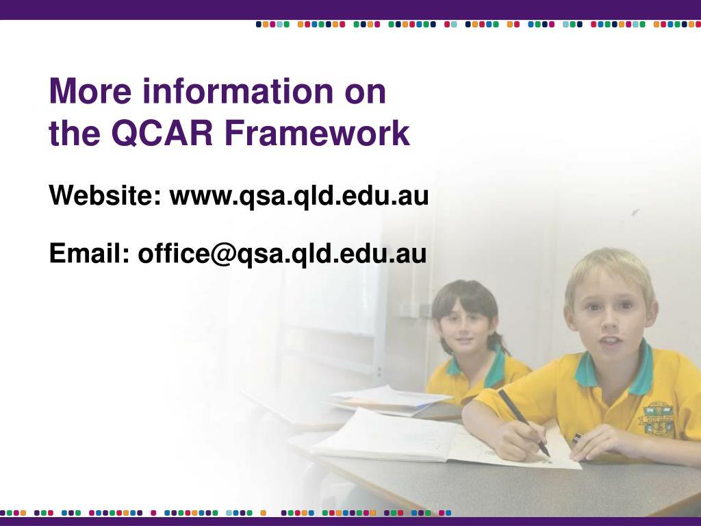More information on the QCAR Framework