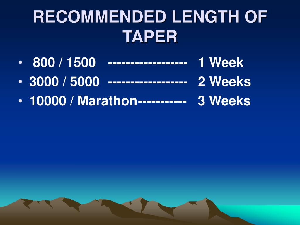 RECOMMENDED LENGTH OF TAPER