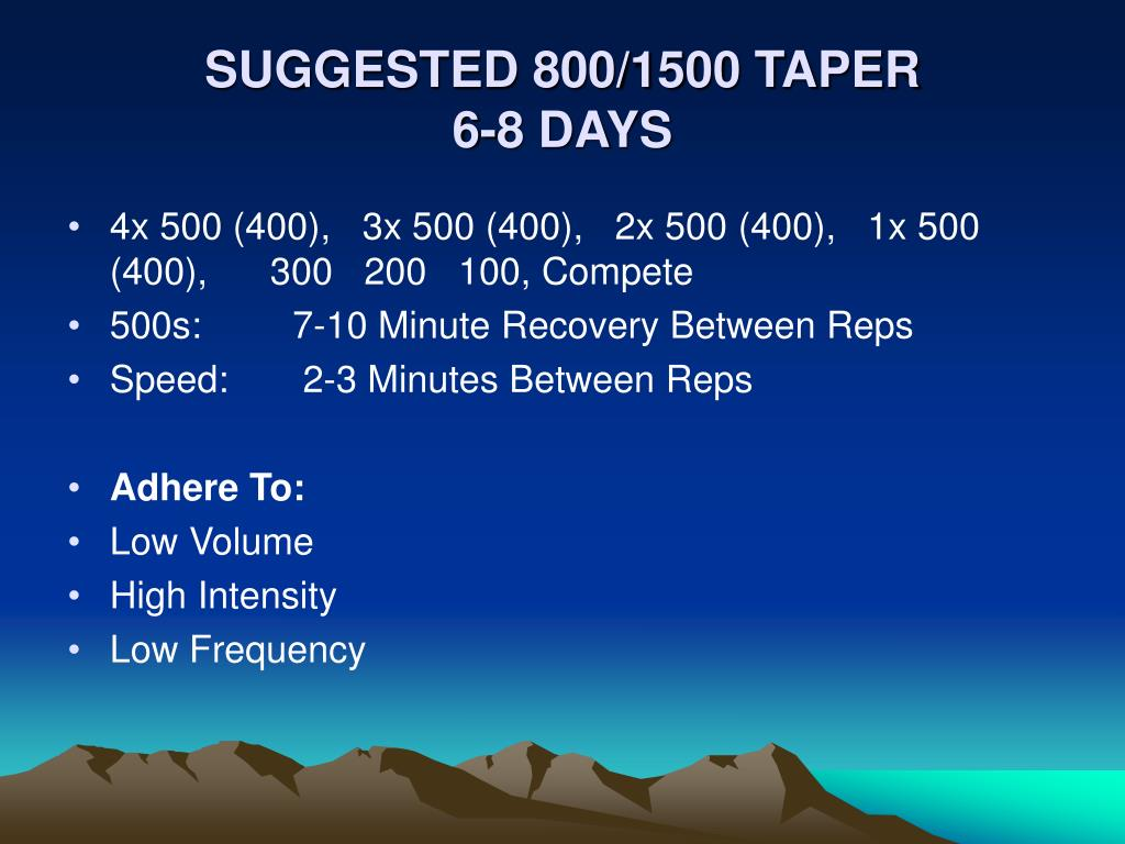 SUGGESTED 800/1500 TAPER