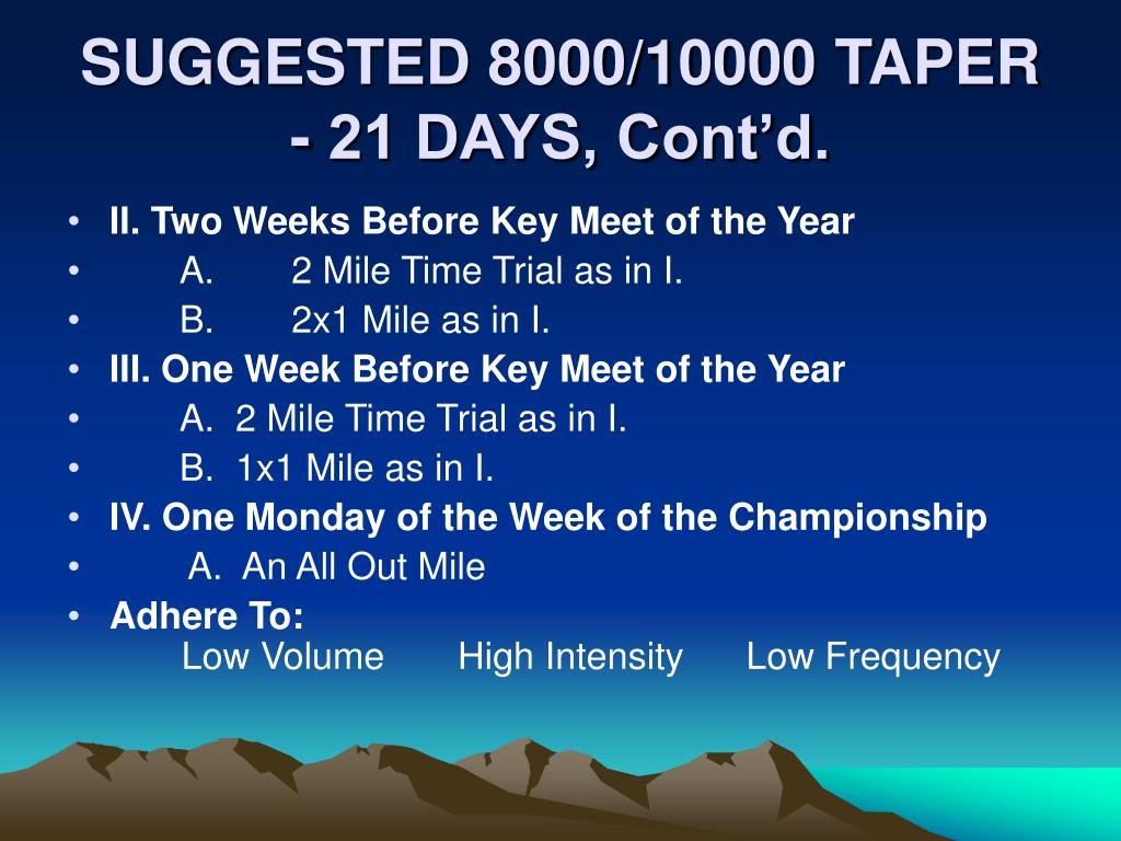 SUGGESTED 8000/10000 TAPER - 21 DAYS, Cont'd.