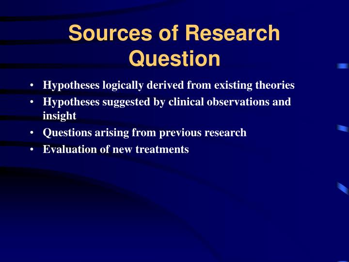 Sources of research question