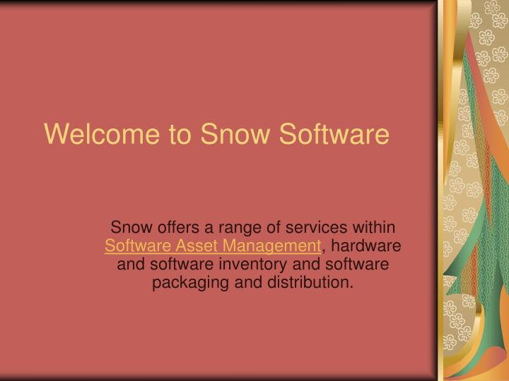Welcome to snow software