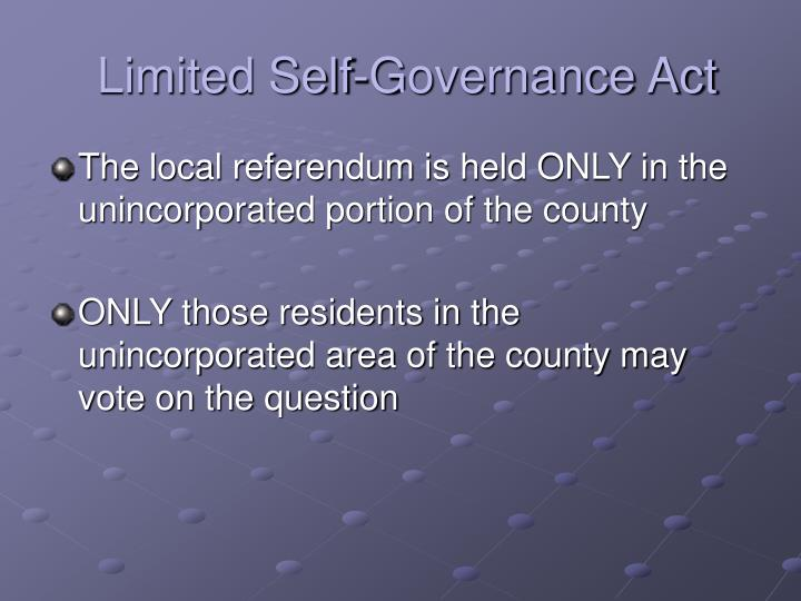 Limited self governance act3