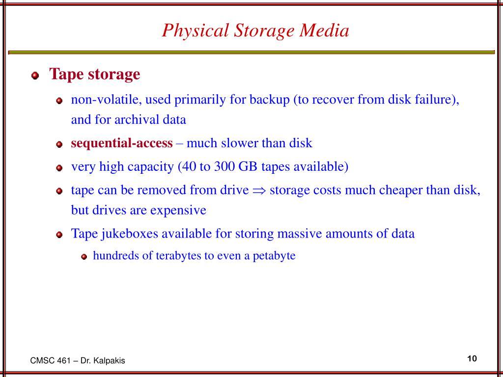 Physical Storage Media