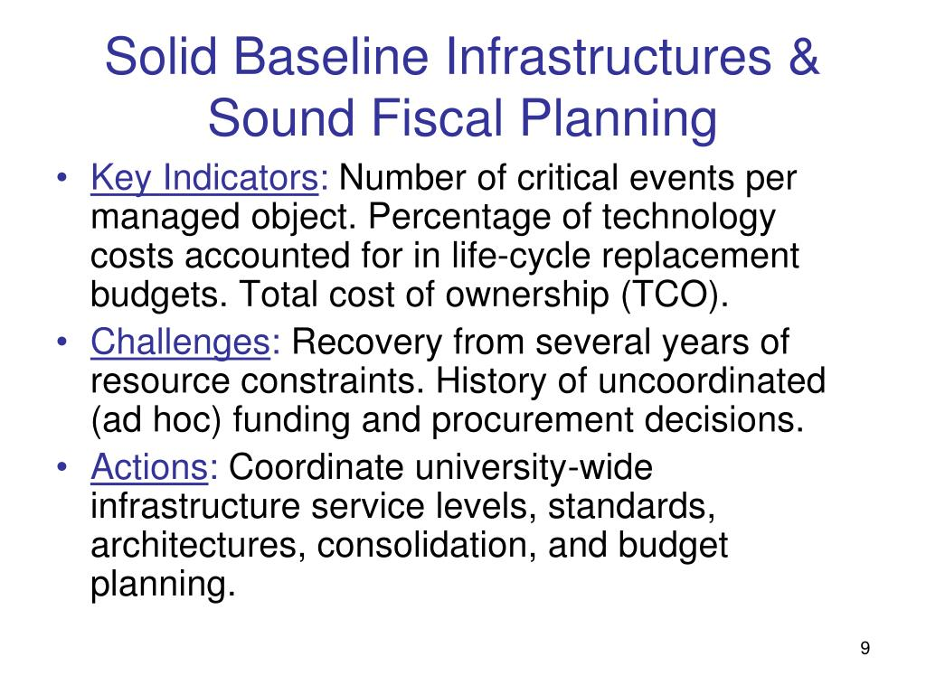 Solid Baseline Infrastructures & Sound Fiscal Planning