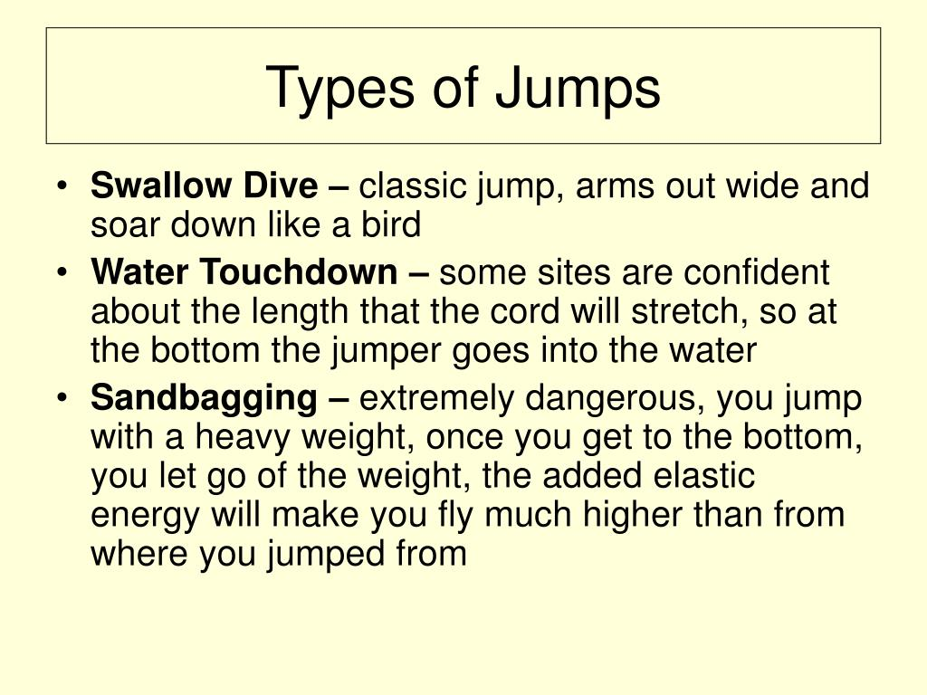 effect of body mass and cord length on bungee jump motion A bungee jumper with mass 700 kg jumps from a high bridge  a vertically hanging bungee cord has a length of  the chancellor has agreed to bungee jump from a.