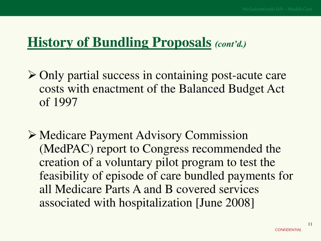 History of Bundling Proposals