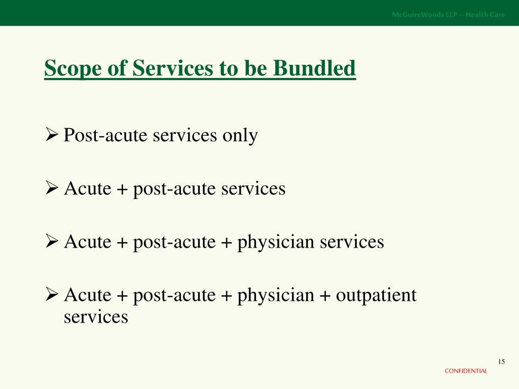 Scope of Services to be Bundled
