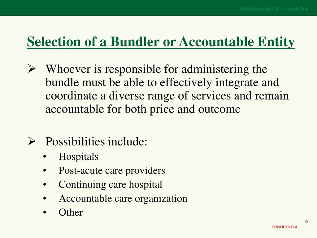 Selection of a Bundler or Accountable Entity