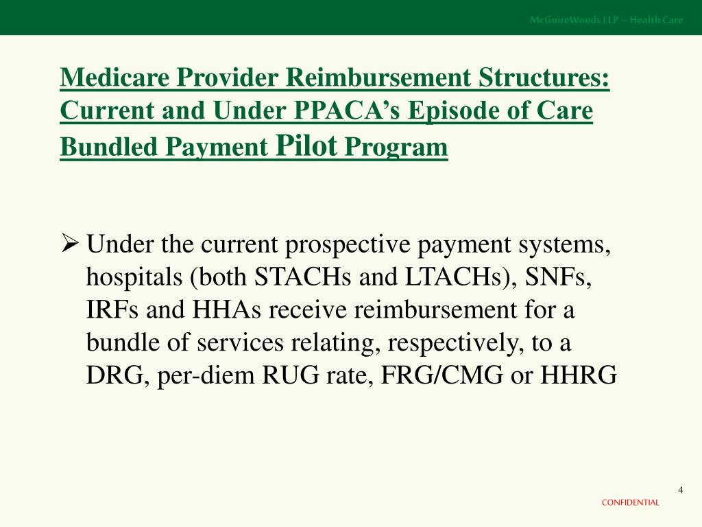Medicare Provider Reimbursement Structures:  Current and Under PPACA's Episode of Care Bundled Payment