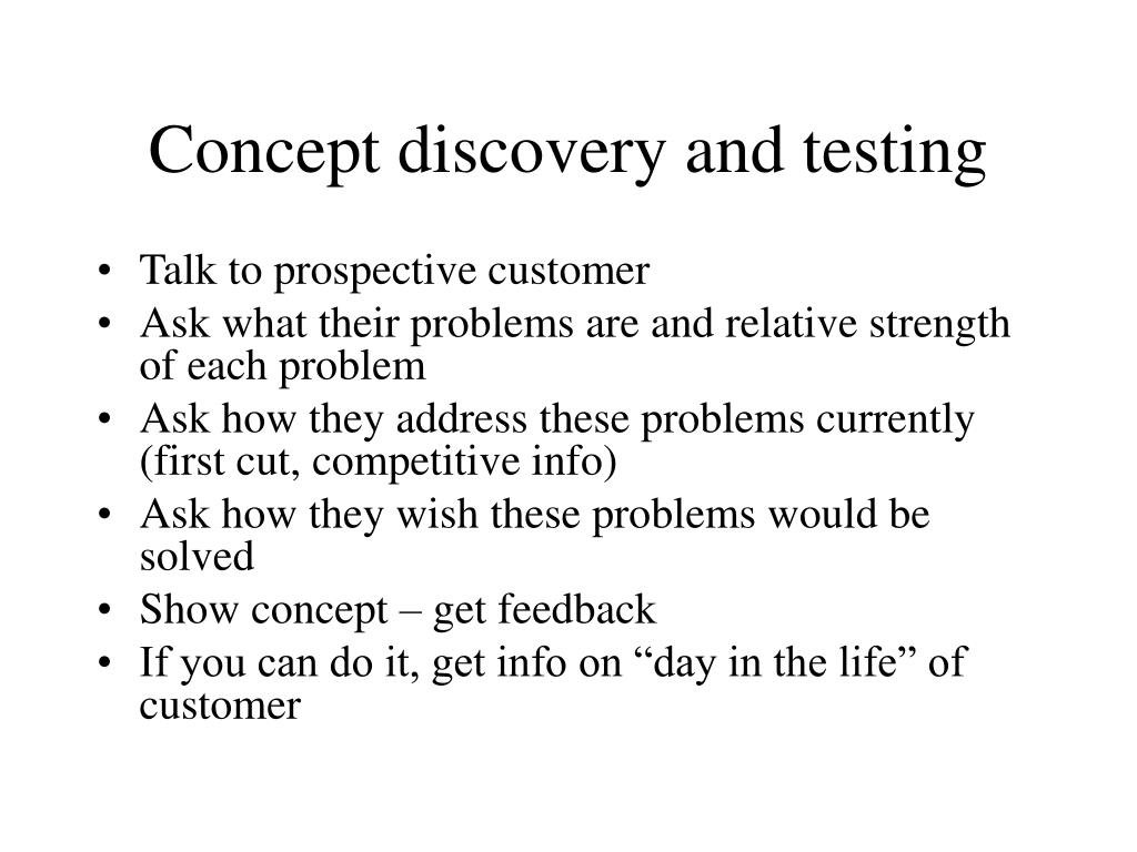 Concept discovery and testing
