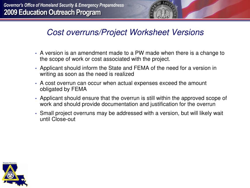 Cost overruns/Project Worksheet Versions
