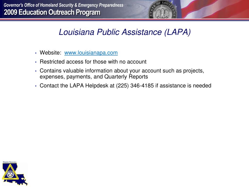 Louisiana Public Assistance (LAPA)
