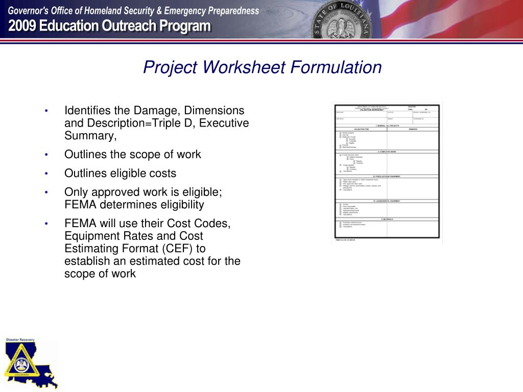 Project Worksheet Formulation