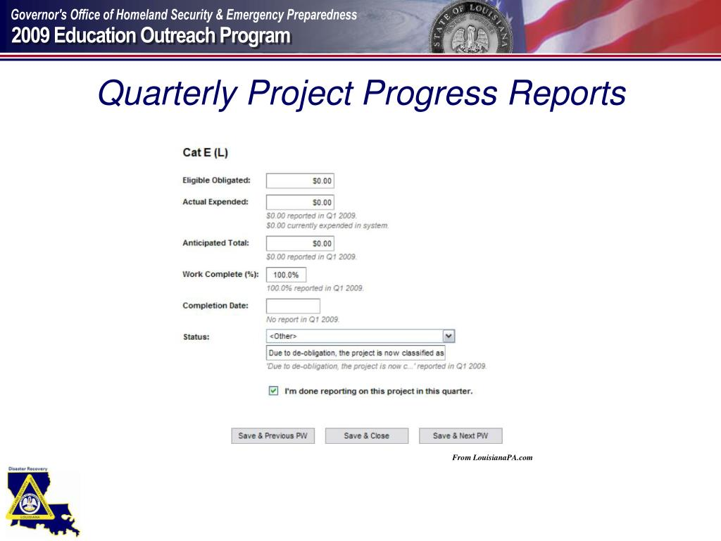 Quarterly Project Progress Reports