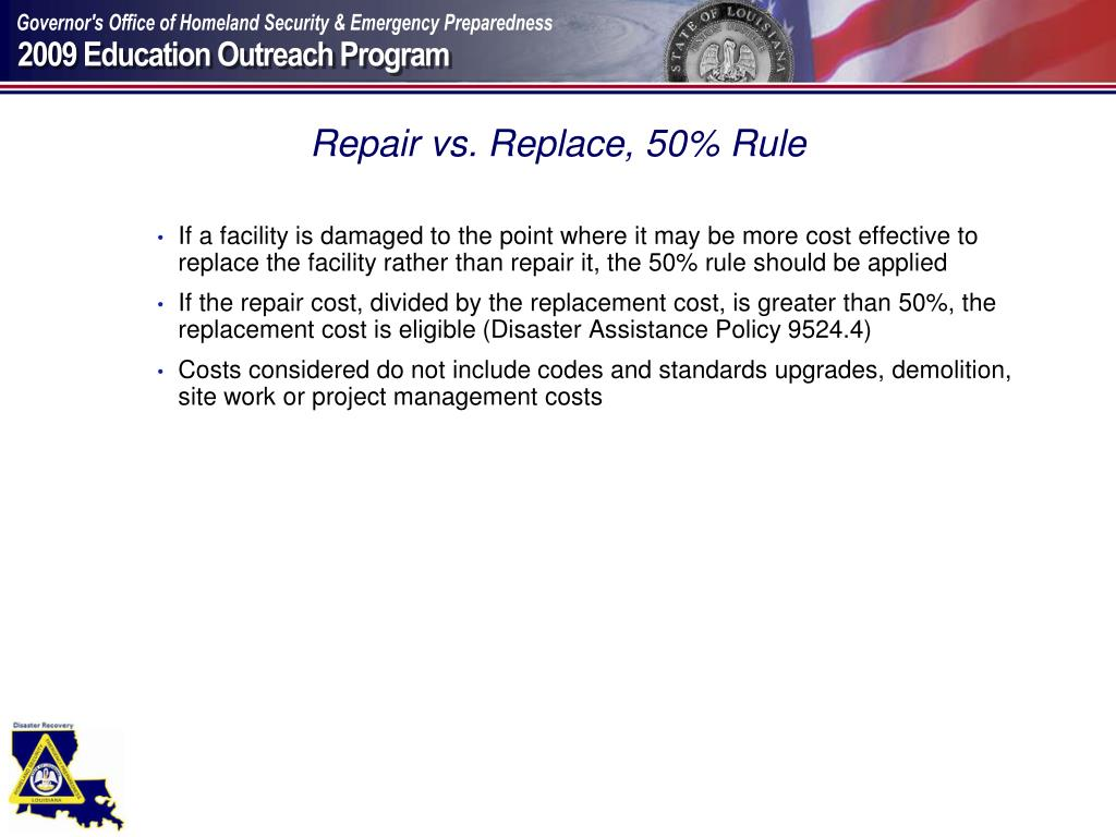 Repair vs. Replace, 50% Rule