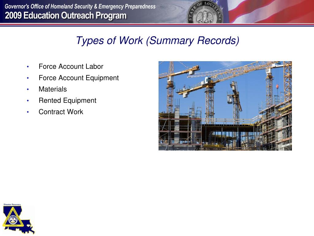 Types of Work (Summary Records)