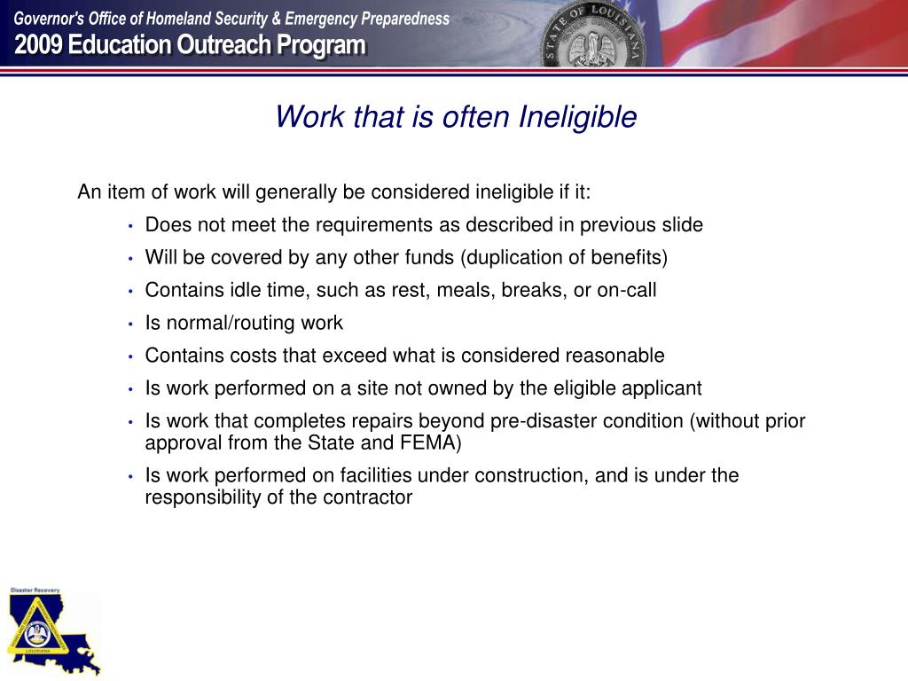 Work that is often Ineligible