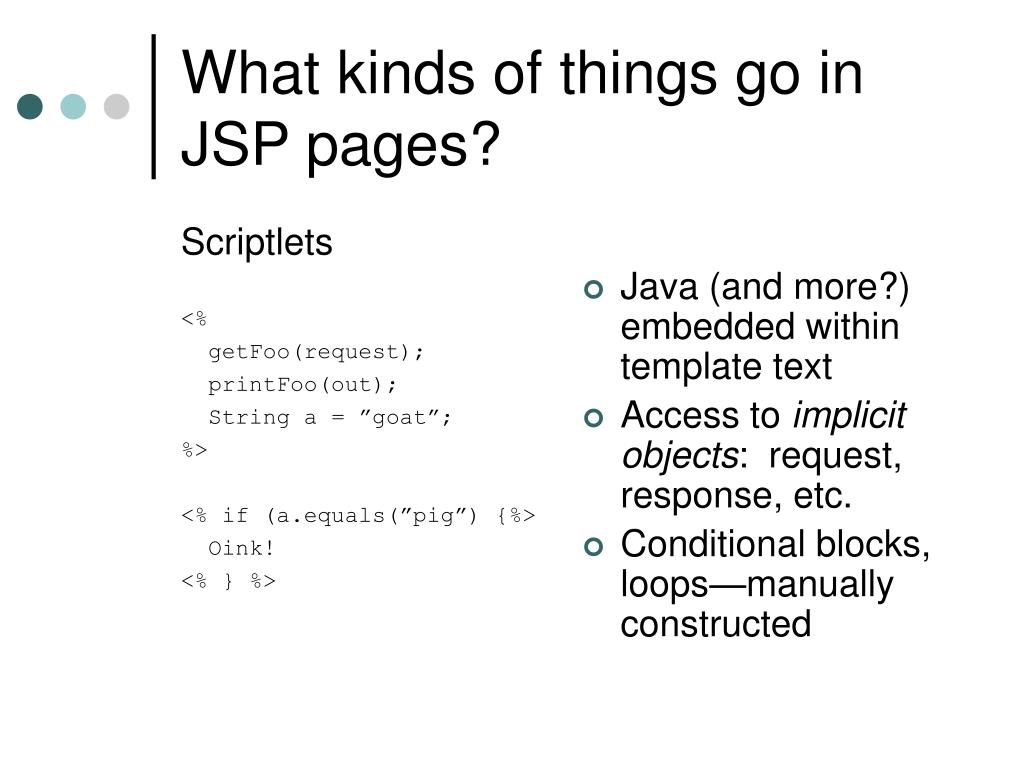 What kinds of things go in JSP pages?