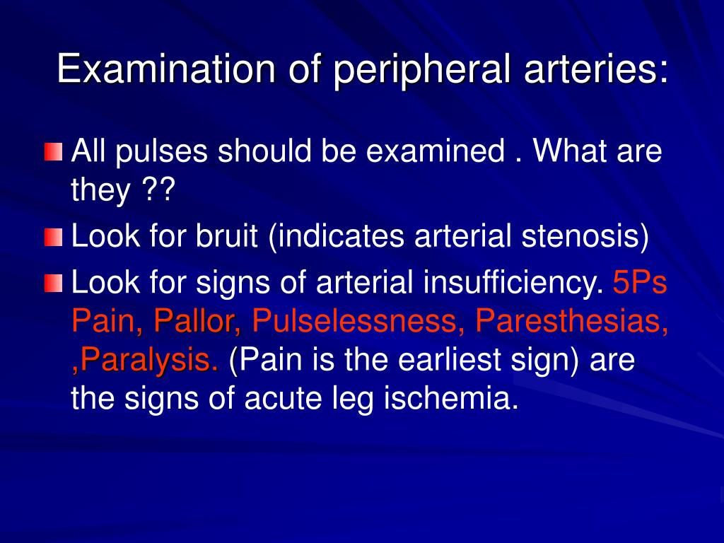 Examination of peripheral arteries: