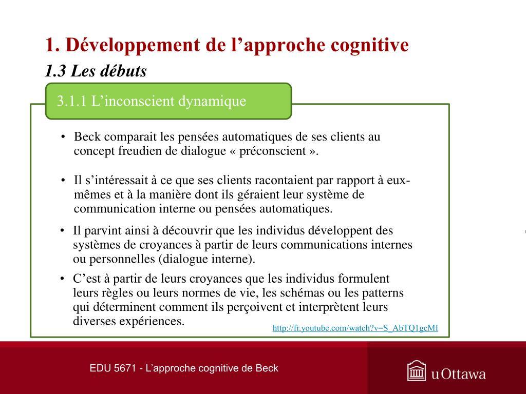 1. Développement de l'approche cognitive