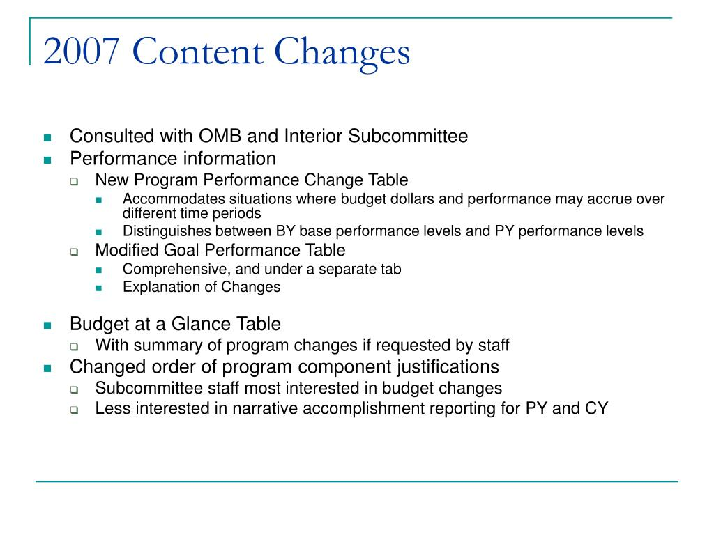 2007 Content Changes