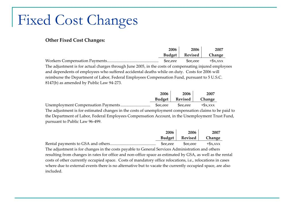 Fixed Cost Changes