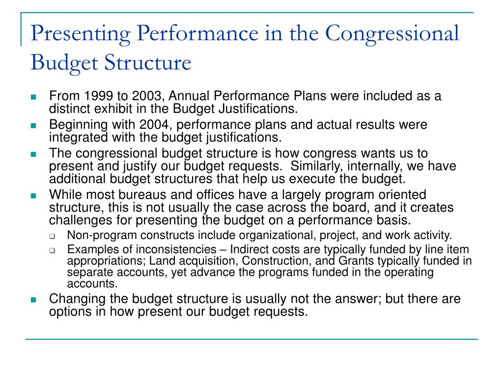 Presenting Performance in the Congressional Budget Structure
