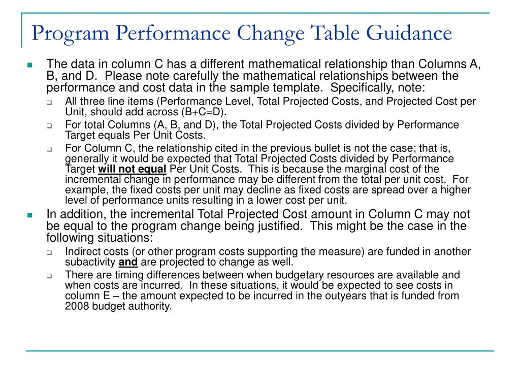 Program Performance Change Table Guidance