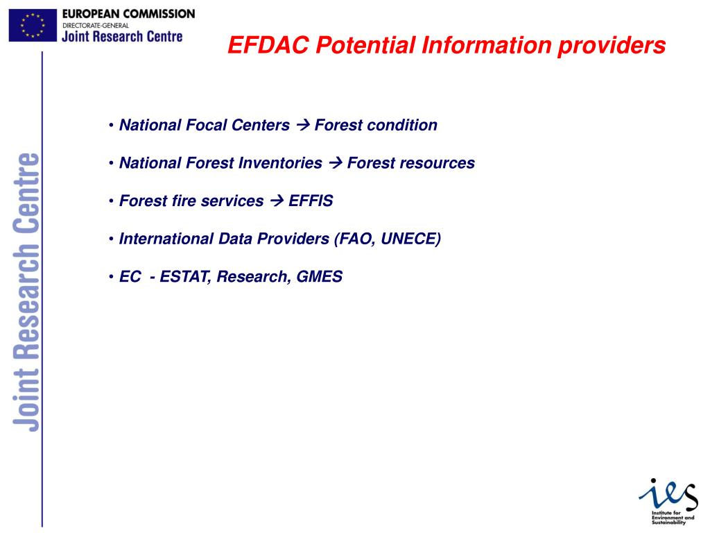 EFDAC Potential Information providers