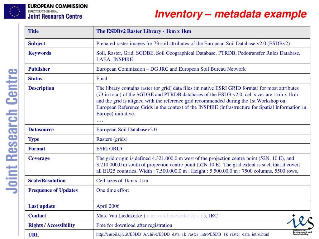 Inventory – metadata example