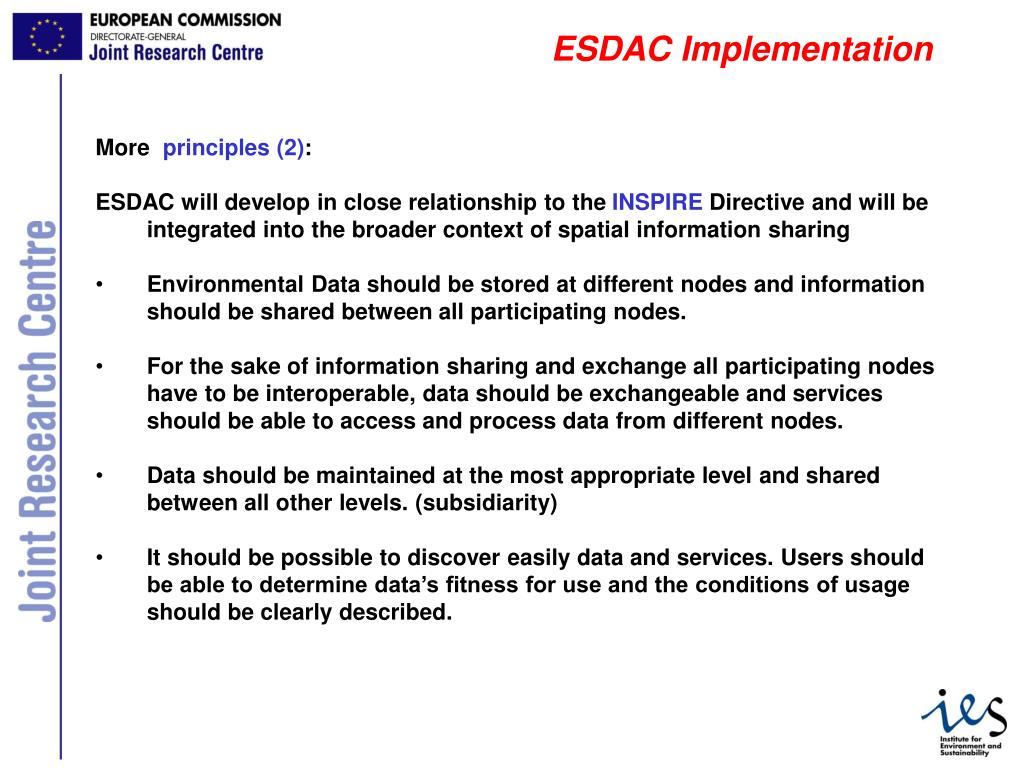 ESDAC Implementation