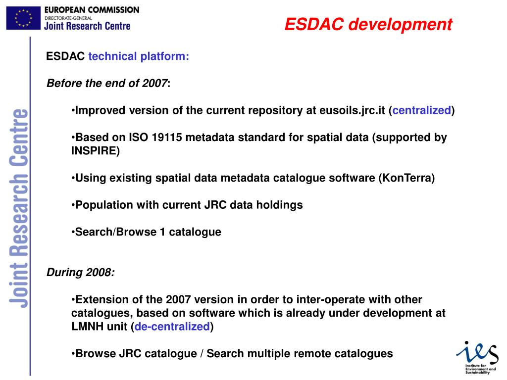 ESDAC development