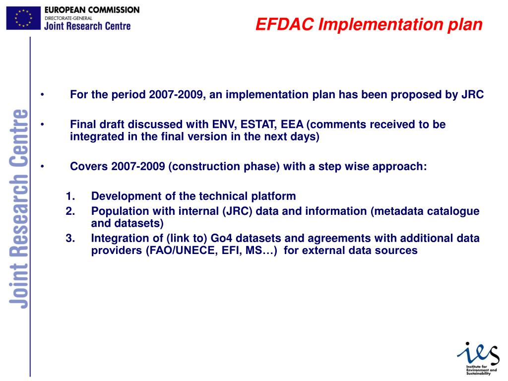 EFDAC Implementation plan