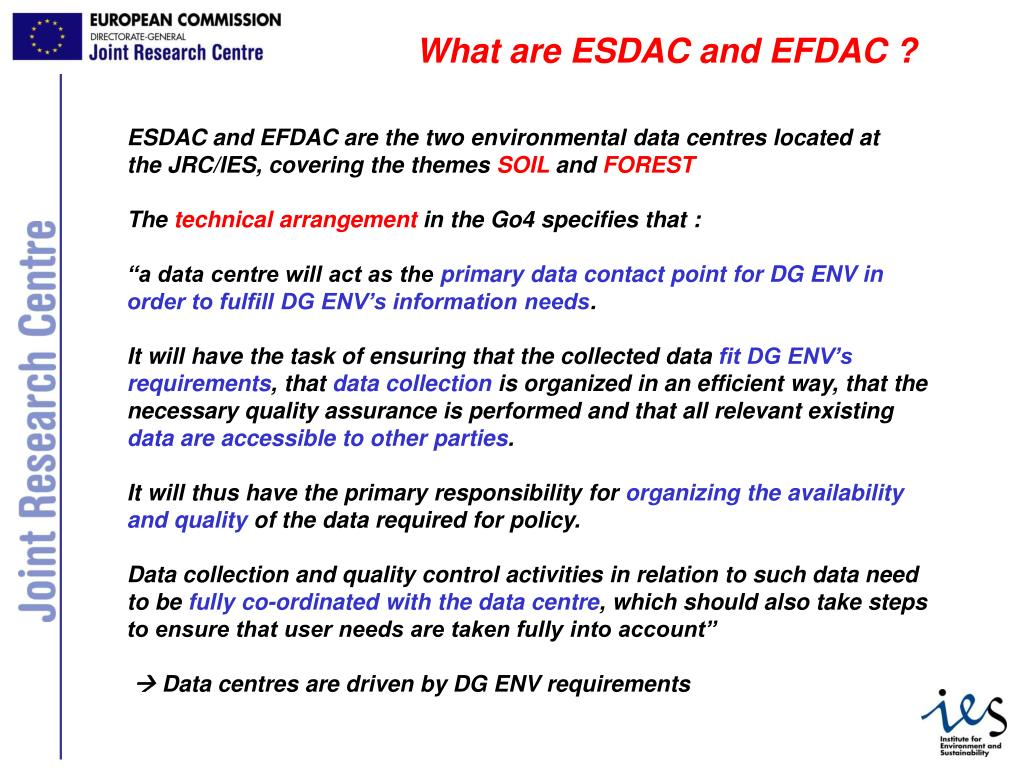 What are ESDAC and EFDAC ?